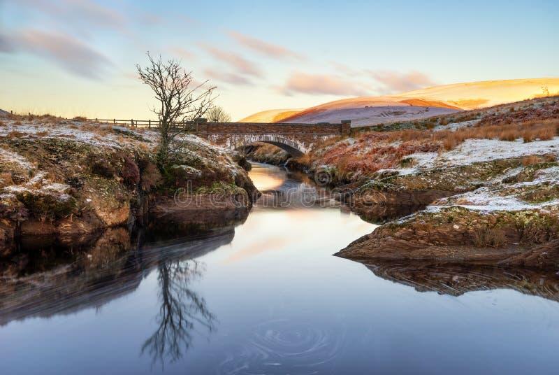 Elan van Pontar, Elan Valey die, de sneeuwscène van Wales van Afon-Elan door een brug in de winter met eenzame boom vloeien dacht stock foto