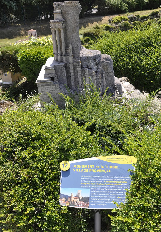 Elancourt F,July 16th: Monument de la Turbie in Village Provencal in the the Miniature Reproduction of Monuments Park from France. Monument de la Turbie in stock photography