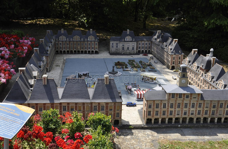 Elancourt F,July 16th: Place Ducale de Charleville Mezieres in the Miniature Reproduction of Monuments Park from France stock photos