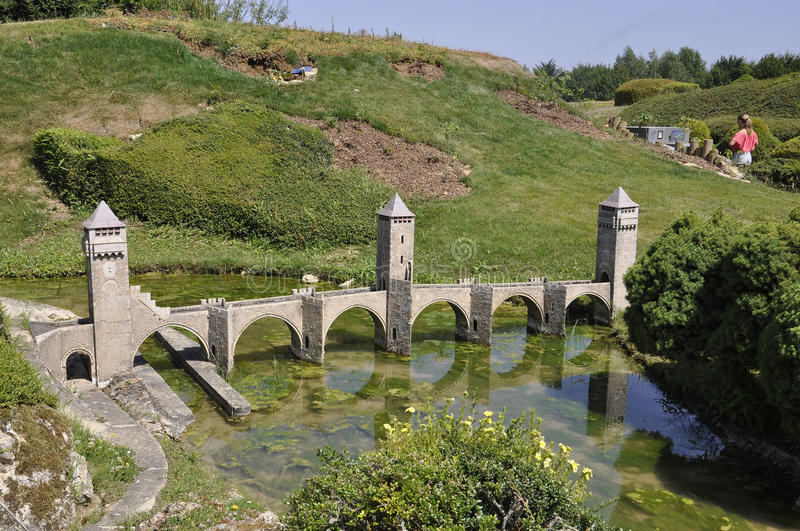 Elancourt F,July 16th: Pont Valentre de Cahors in the the Miniature Reproduction of Monuments Park from France. Pont Valentre de Cahors in the Miniature royalty free stock image