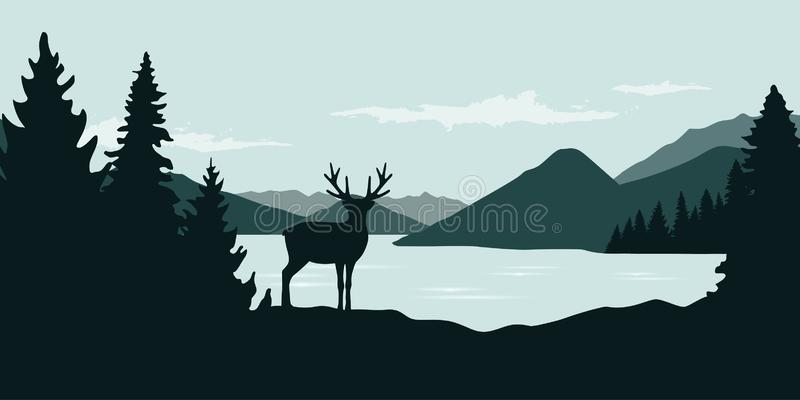 Elanden door het de aardlandschap van het rivier groene boswild royalty-vrije illustratie