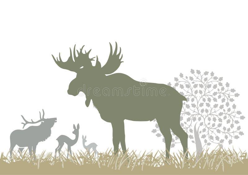 Elanden en herten door boom vector illustratie