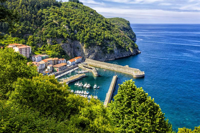 Elantxobe on the coast of Basque Country in Nothern Spain. Elantxobe harbor on the coast of Basque Country, Spain stock images