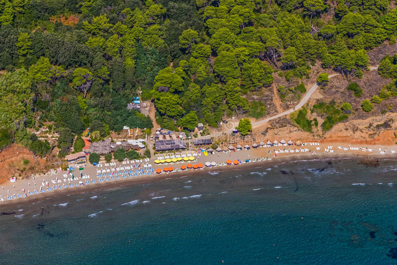 Elaphites near Dubrovnik. Sandy beach on Elaphites island Lopud - Dubrovnik archipelago royalty free stock photos