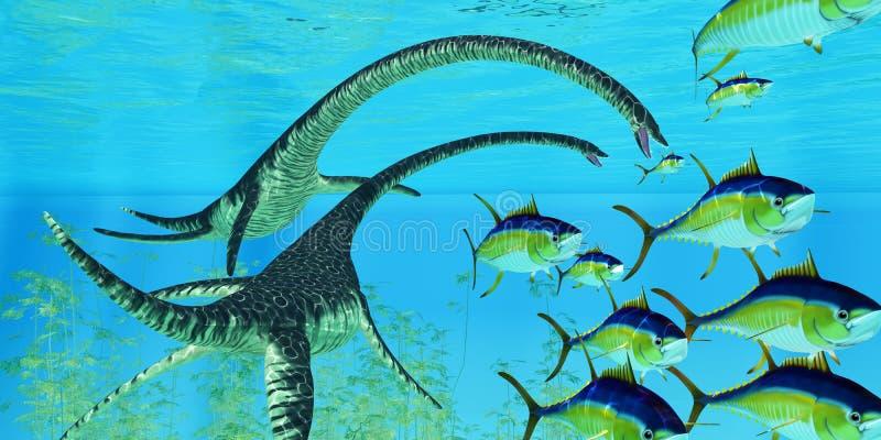 Elasmosaurus aquático do réptil ilustração royalty free