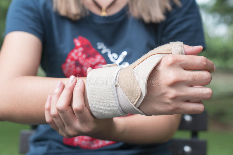 Elastic wrist support brace band wrap on hand to relieve pain, s stock image