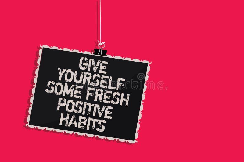 Elasticità voi stessi del testo di scrittura di parola alcune abitudini positive fresche Concetto di affari per le routine positi royalty illustrazione gratis