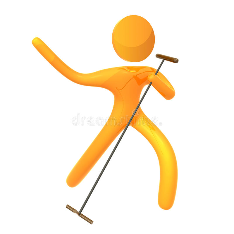 Elastisch geel de zangerpictogram van het humanoididool vector illustratie