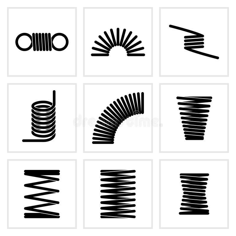 Elastische de lente vectorpictogrammen van de metaal spiraalvormige flexibele draad vector illustratie