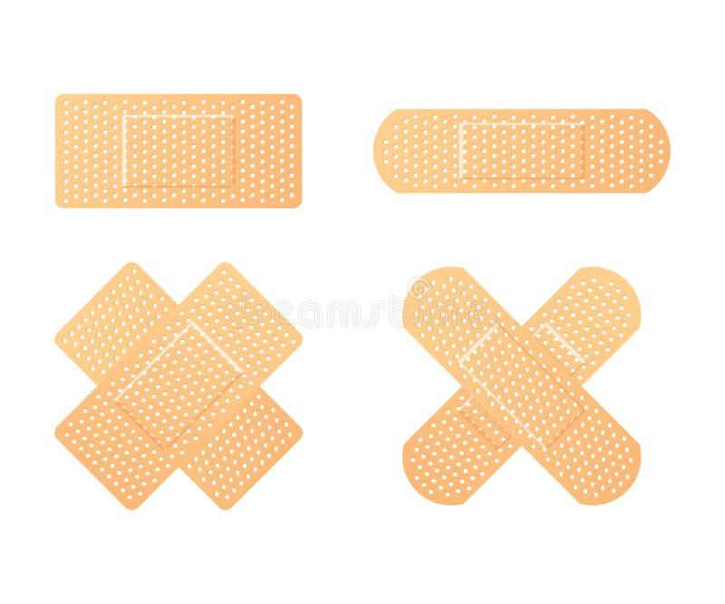 Elastiska läkarundersökningmurbrukar Bindemedel förbinder, kallat en klibba murbruksamling också vektor för coreldrawillustration royaltyfri illustrationer