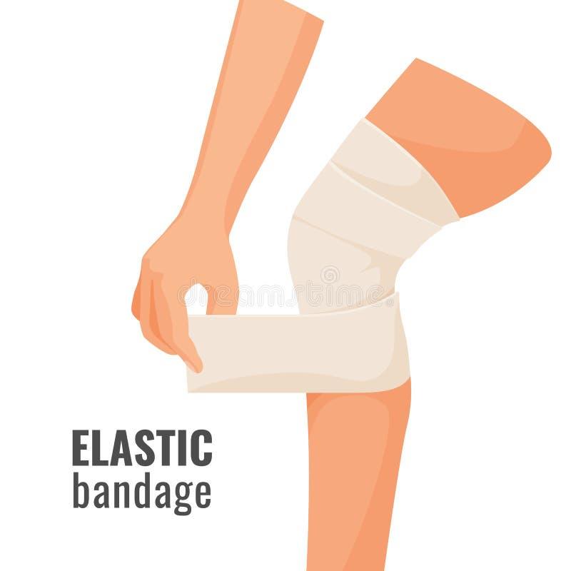 Elastyczny bandaż na istoty ludzkiej rannej nodze odizolowywał ilustrację ilustracji