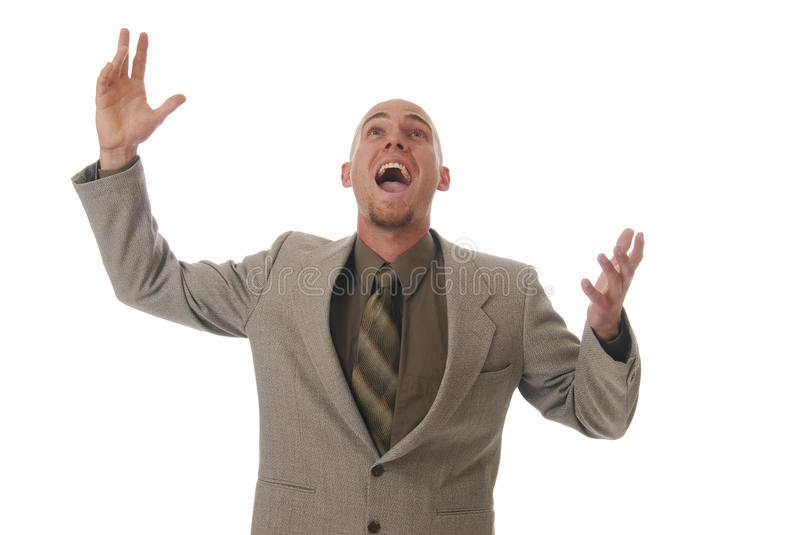 Elation. A man jumping in the air in elation stock photo