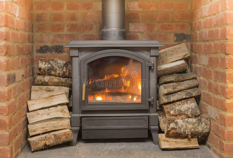 Żelazny Drewniany palnik fotografia stock