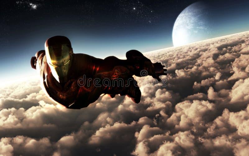 Żelazny mężczyzna charakteru latanie ilustracja wektor