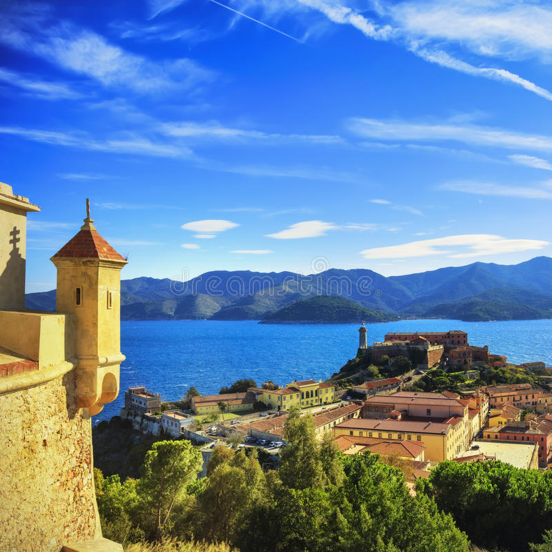 Free Elba Island, Portoferraio Aerial View From Fort. Lighthouse And Royalty Free Stock Image - 65634566