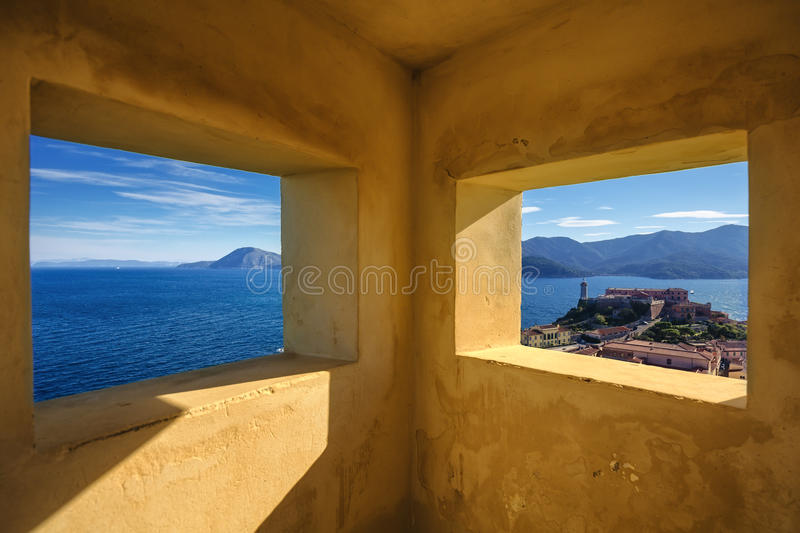Elba island, Portoferraio aerial view from old windows. Lighthouse and fort. Tuscany, Italy. stock image