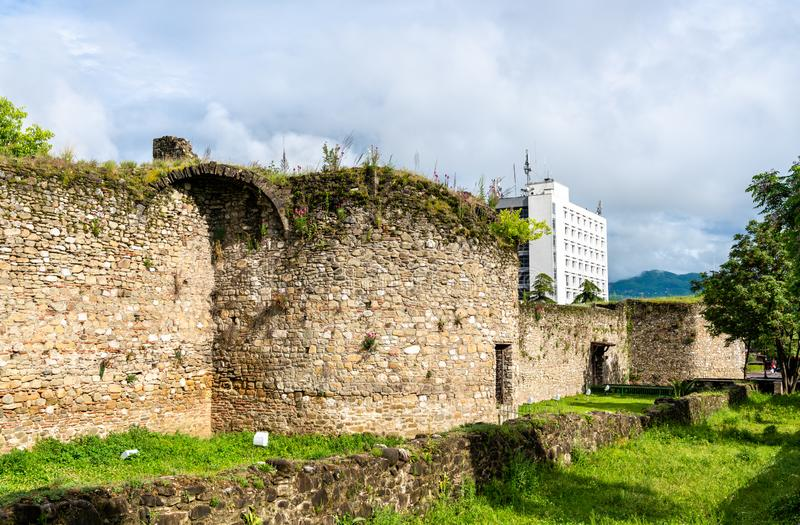 Elbasan Castle in Albania. View of the walls of Elbasan Castle in Albania royalty free stock image