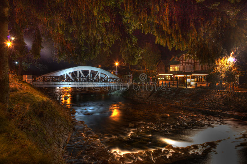 Elbe, Bridge, Spindler mills. In the evening royalty free stock photography