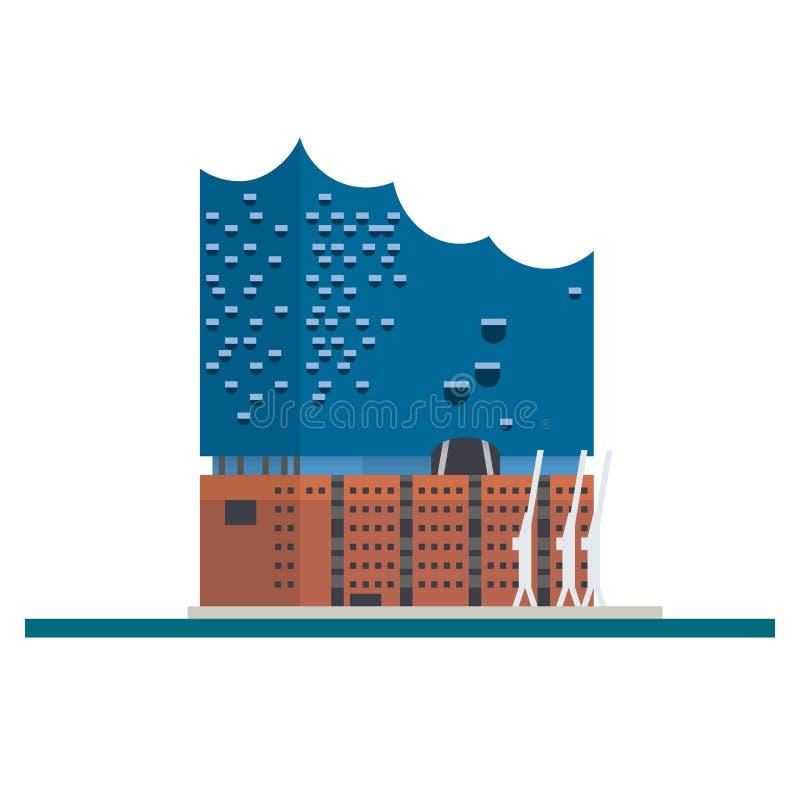 Elbe Filharmoniczny Hall przy Hamburg, Niemcy, płaski projekta wektor ja ilustracja wektor