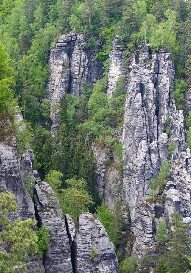 Elbe Sandstone Mountains. Unique among the central European low mountain ranges is the most ecologically significant levels of constant change, canyons, mesas royalty free stock image