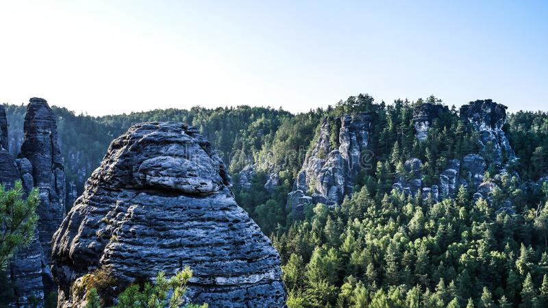 Elbe Sandstone Mountains. In teh evening royalty free stock image