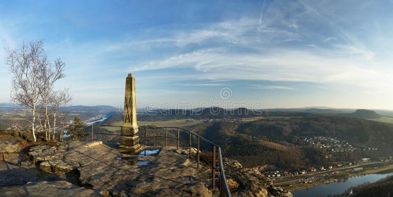 Elbe Sandstone Mountains - Lookout in the evening light. Elbe Sandstone Mountains - Panoramic view from the `Lilienstein` towards the southeast, in the royalty free stock images