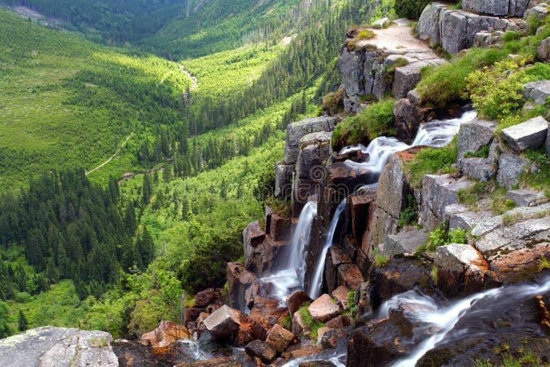 Elbe waterval in het hout van Krkonose royalty-vrije stock afbeeldingen
