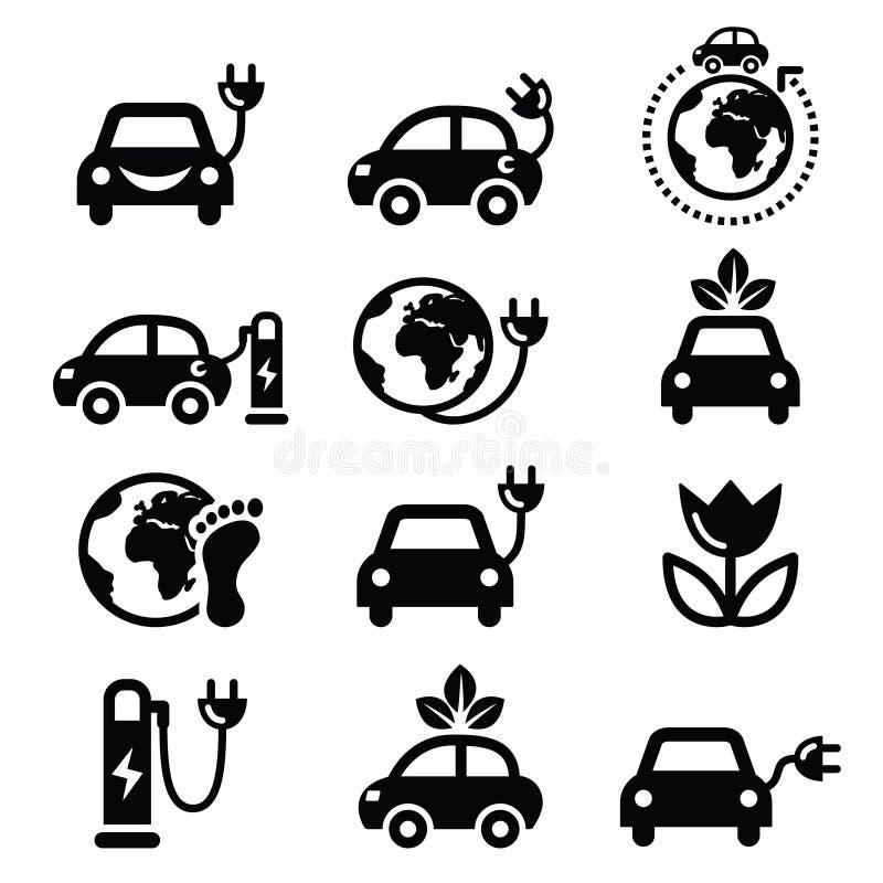 Elbil-, gräsplan- eller ecotransportsymboler ställde in vektor illustrationer