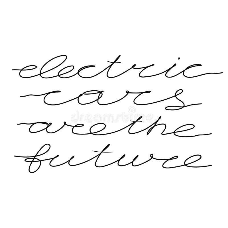 Elbilar är den framtida en linjen bokstäver på vit bakgrund stock illustrationer