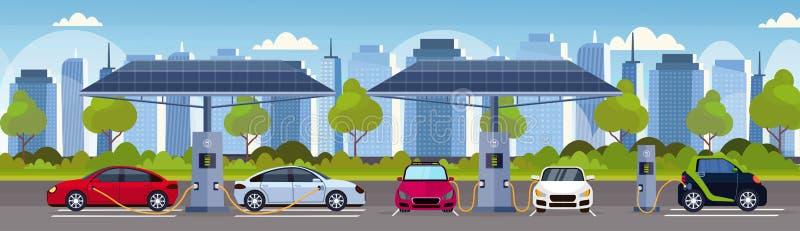 Elbilar som laddar på station för elektrisk laddning med omsorg för miljö för transport för förnybar eco för solpaneler vänlig stock illustrationer