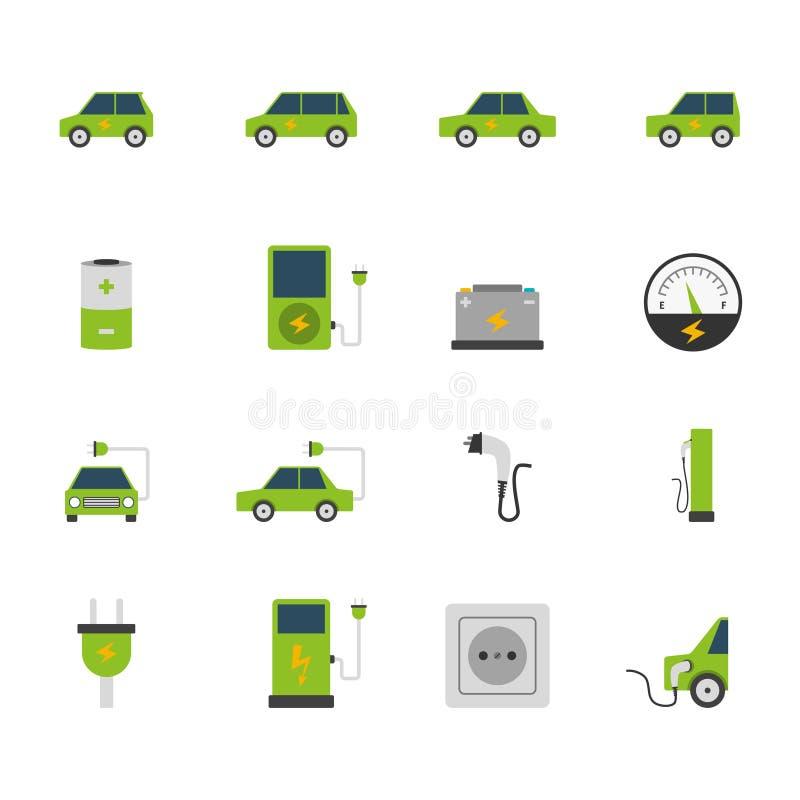 Elbilsymbolsuppsättning stock illustrationer