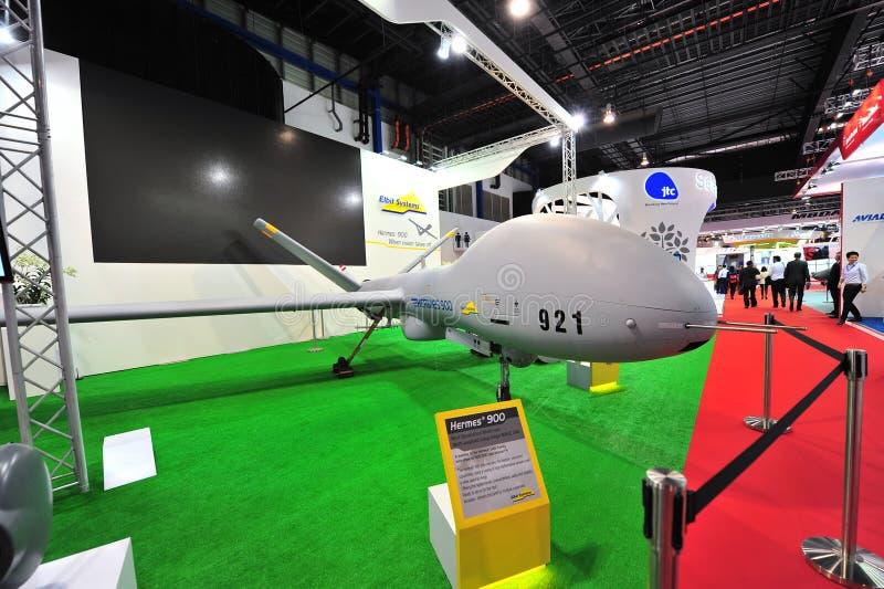 Elbit Hermes 900 lang duurzaamheids onbemand luchtvoertuig (UAV) op vertoning in Singapore Airshow royalty-vrije stock afbeelding