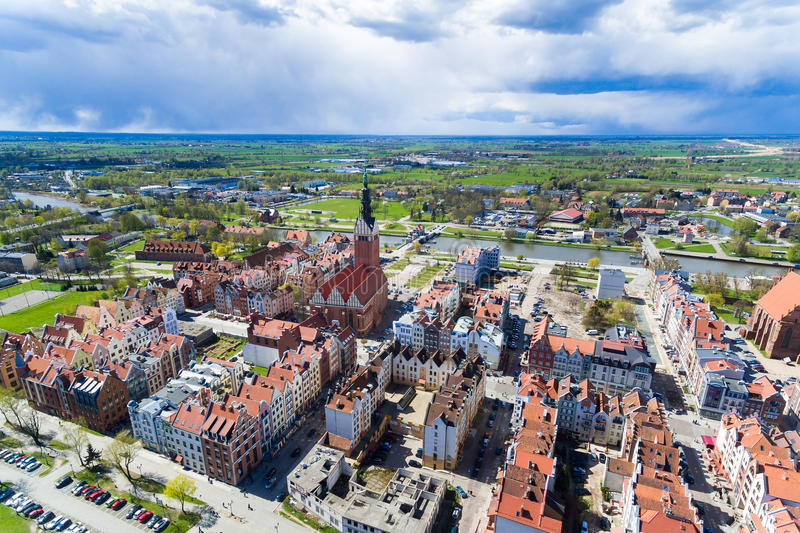 Elblag old town, Poland. Aerial view of the old town of Elblag in Poland in spring royalty free stock images