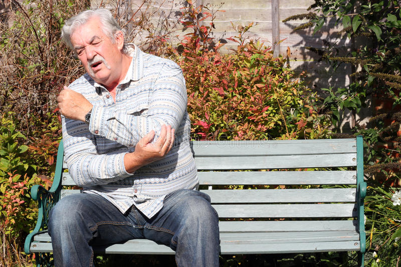 Elbow joint pain or injury. stock photo