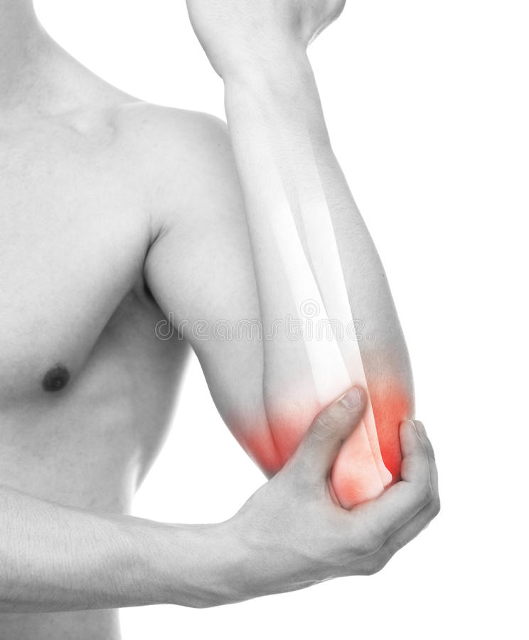 Elbow Injury - Studio shot with 3D illustration isolated on whit royalty free illustration