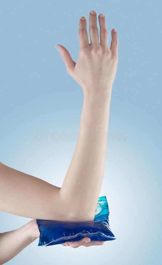 Elbow pain aches and tension. Elbow pain, aches and tension. It is also used for prevention and treatment in competitive sports royalty free stock photo