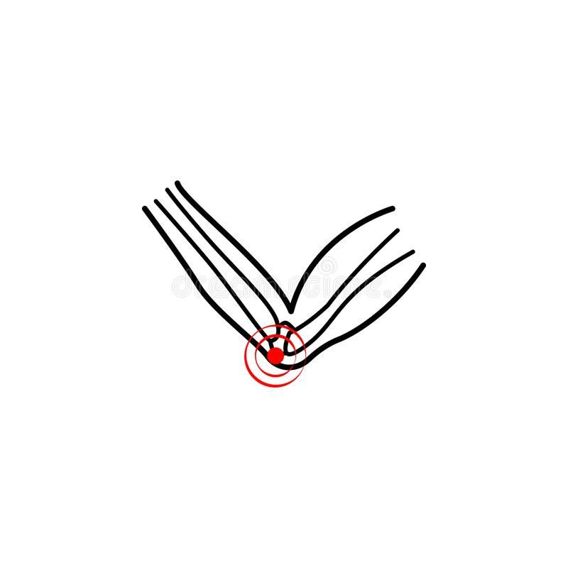 elbow problems, pain icon. Element of health care for mobile concept and web apps icon. Thin line icon for website design and royalty free illustration