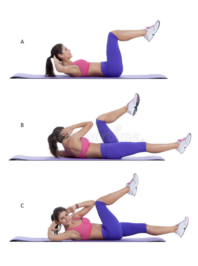 Elbow-to-knee crunch. Step by step instructions for abs: Lie flat on your back and place your hands behind your head. Bend your knees and bring them up so that stock images