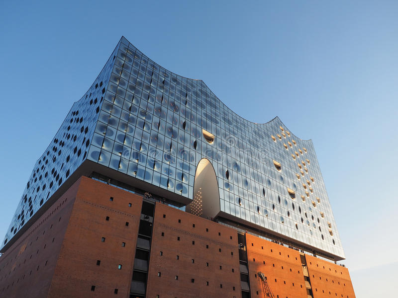 Elbphilharmonie filharmonia w Hamburg fotografia stock