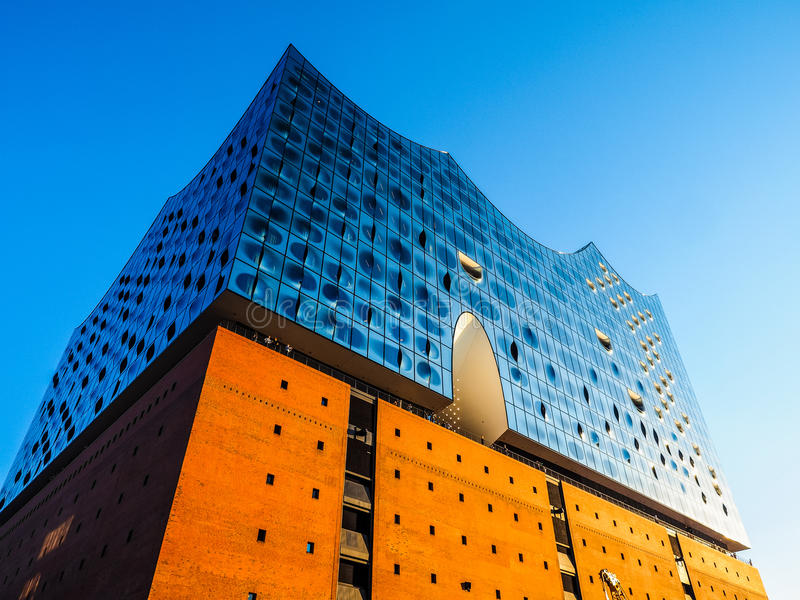 Elbphilharmonie filharmonia w Hamburskim hdr zdjęcie royalty free