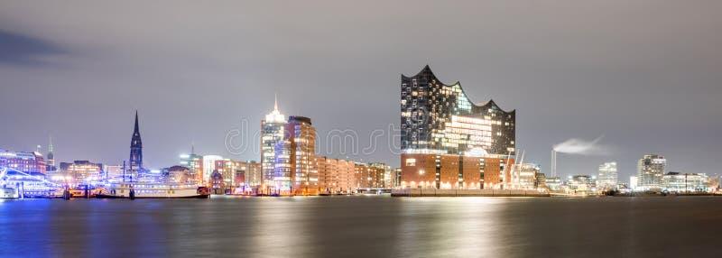 Elbphilharmonie and Hamburg harbor at night royalty free stock photos