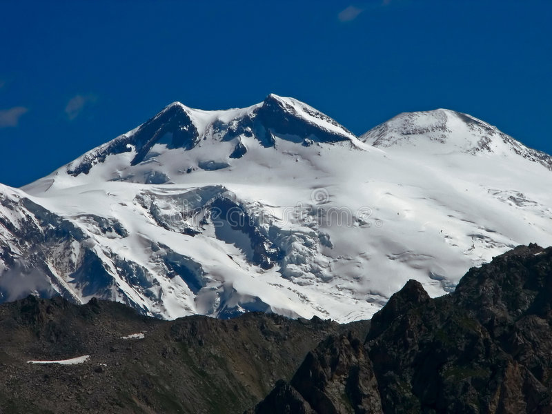 Elbrus. Its three tops, on the right on is left east, southwest, western stock photography