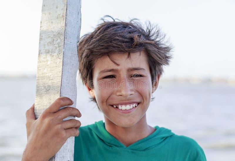 Elbrus lake,Egypt - JULY 24 ,2015:Young Egyptian boy smile. royalty free stock images