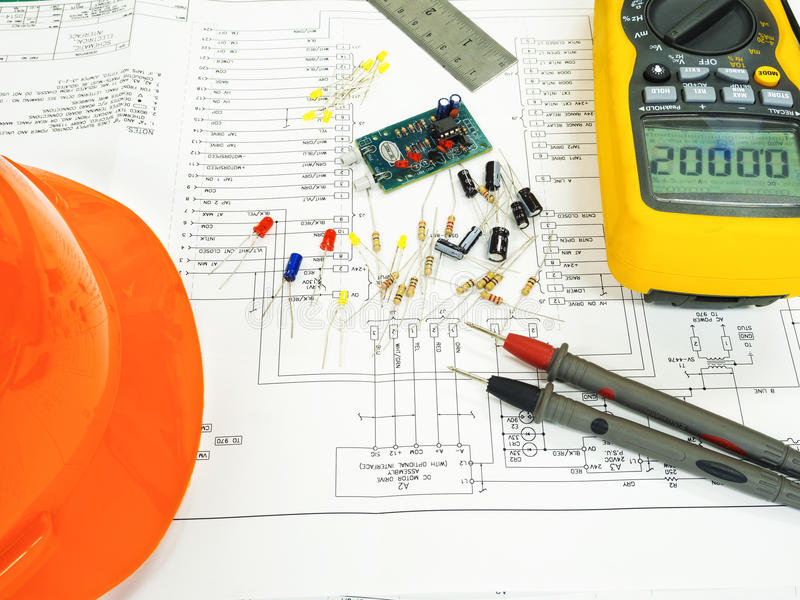 Elcetronic component on circuit diagram royalty free stock image