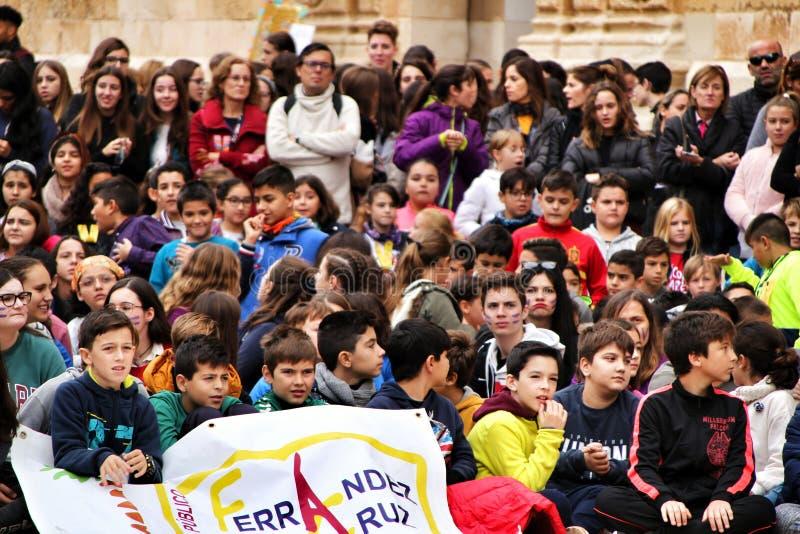 Demonstration of schoolchildren against gender-based violence royalty free stock photography