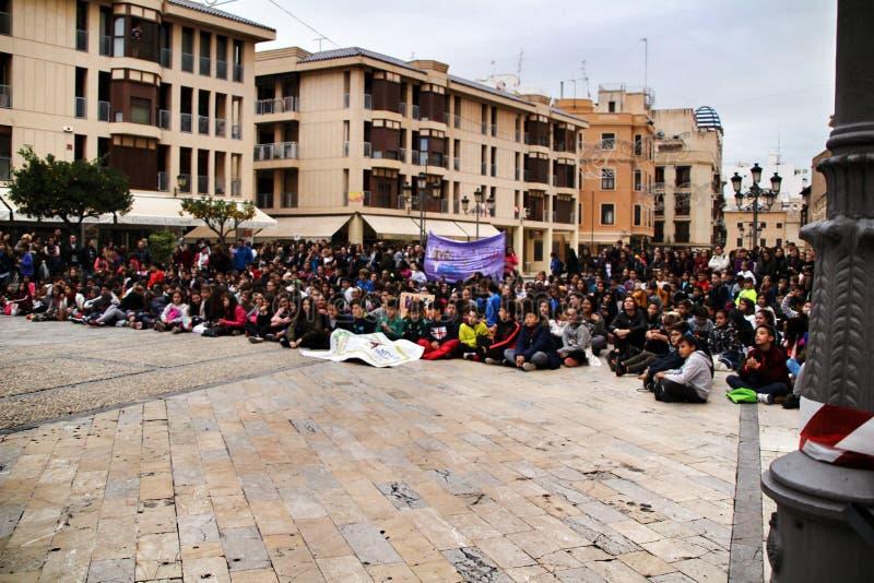 Demonstration of schoolchildren against gender-based violence royalty free stock image