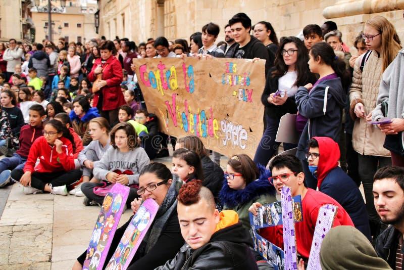 Demonstration of schoolchildren against gender-based violence royalty free stock photo
