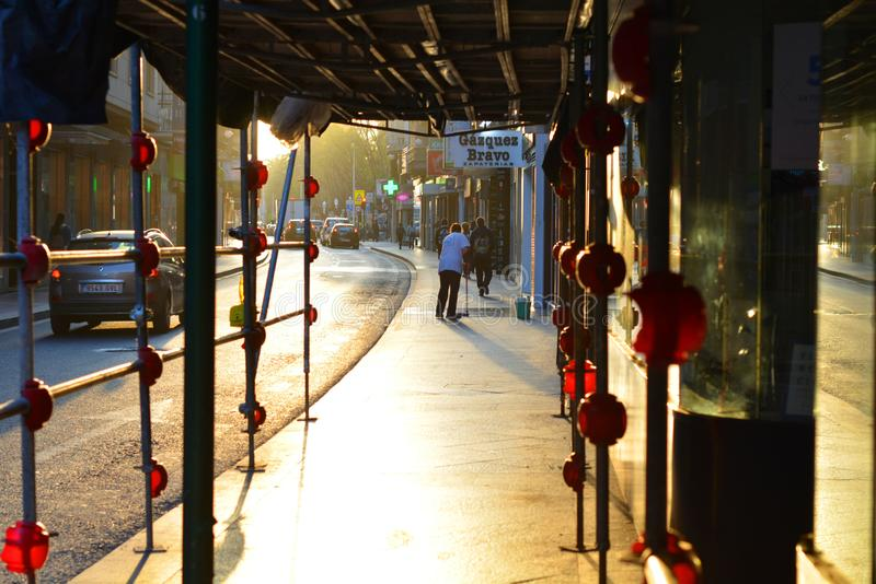 Elche, Alicante, Spain- street in the center of the city at sunrise royalty free stock images