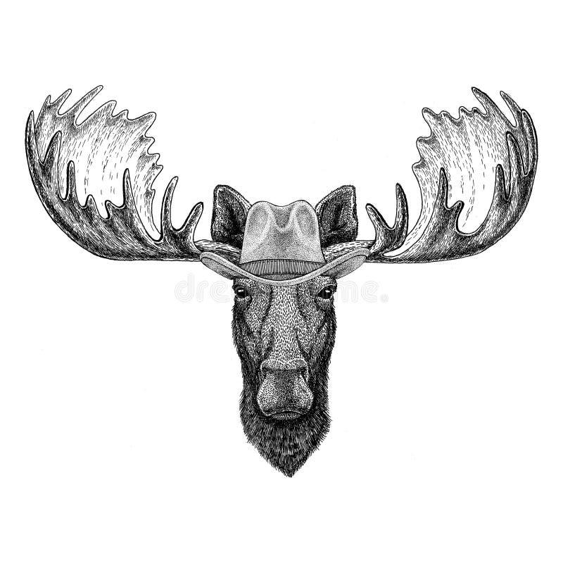 Elche, Cowboyhut des wilden Tieres der Elche tragendes wilder Westtiercowboy-Tiert-shirt, Plakat, Fahne, Ausweisdesign stock abbildung