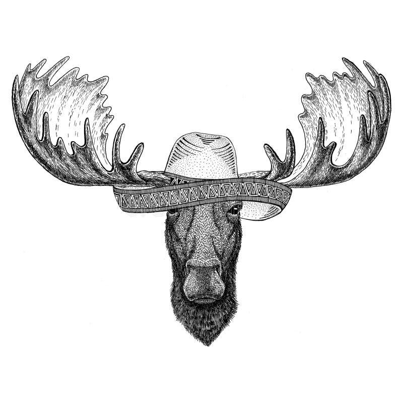 Elche, Mexiko-Fiestas Sombrero des wilden Tieres der Elche tragender der mexikanischen wilder Westen Partei-Illustration stock abbildung